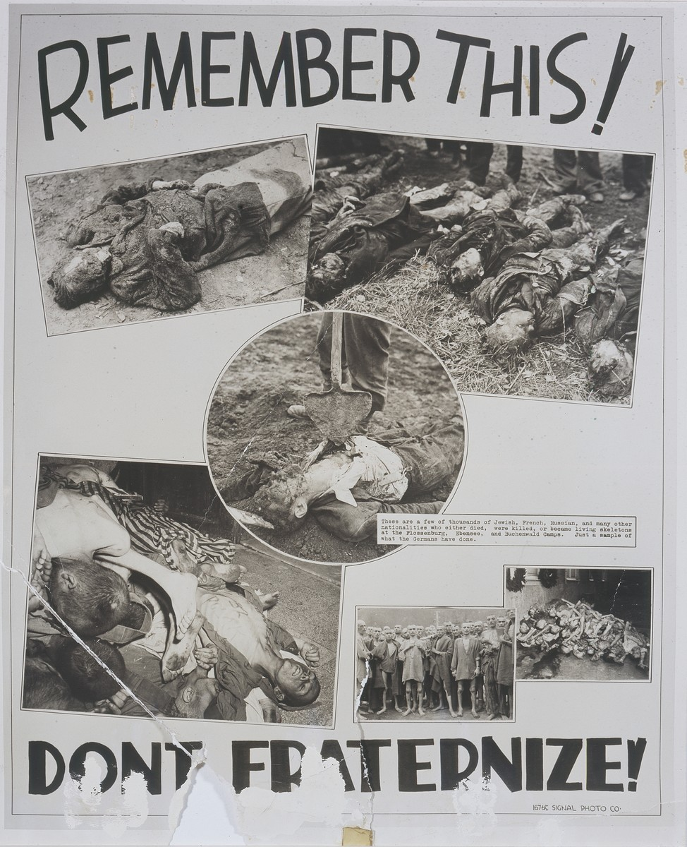 """Photomontage published in The Tacoma Sunday News Tribune (Tacoma, Washington) on June 3, 1945 entitled """"Remember This!  Don't Fraternize"""" that was prepared by U.S. combat photographer Arnold E. Samuelson in Austria and sent for publication to his hometown newspaper.    The montage includes six photographs of Nazi atrocities and concentration camp victims taken by American combat photographers in Germany and Austria.  The photograph of emaciated concentration camp survivors (bottom, second from the right) was taken in Ebensee by Arnold E. Samuelson.   The extended newspaper caption reads: """"Lest they forget --The pictures reproduced above form a photographic placard used to remind American soldiers in Germany of the Nazi brutality in concentration camps and were taken by First Lt. Arnold E. Samuelson, photographic officer of the 167th Signal Photo Company whose home is at 4121 N. 18th St. Tacoma.  Lt. Samuelson wrote that VE Day brought him his toughest assignment of the war when he photographed what he described as the 'worst concentration camp operated by the Nazis' at Ebensee, Austria, after it had been liberated by the 80th Division of the Third U.S. Army-- Photos by U.S. Army Signal Corps."""""""