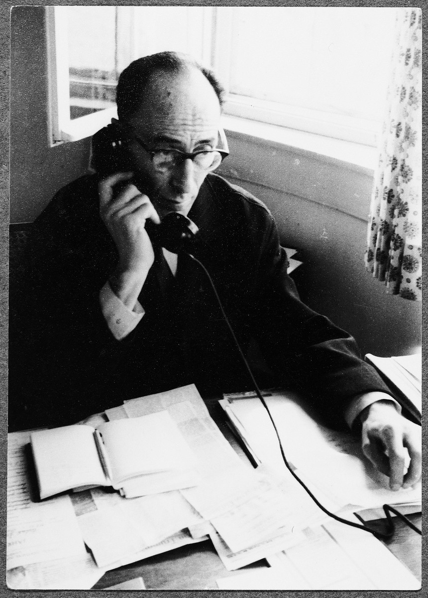 Ernst Jablonsky [Jouhy] works in his office in the Fontenay-aux-Roses children's home.