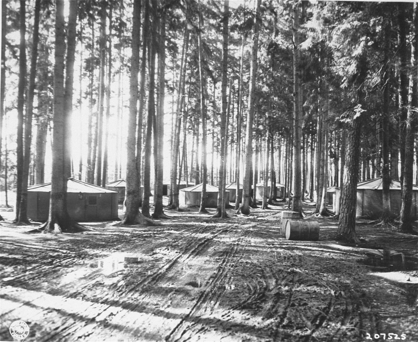 """Finnish huts"", which housed between 30 and 40 people each, in Waldlager V.  The camp held about 4000 prisoners, nearly all Jewish, and was liberated by the 14th Armoured Division, U.S. 3rd Army."