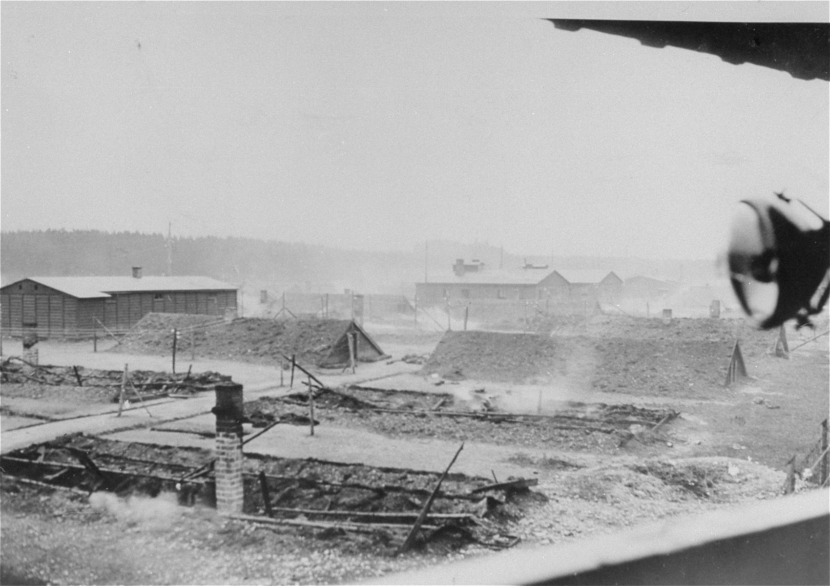 View of the Kaufering IV concentration camp, a sub-camp of Dachau, taken on the day of liberation.