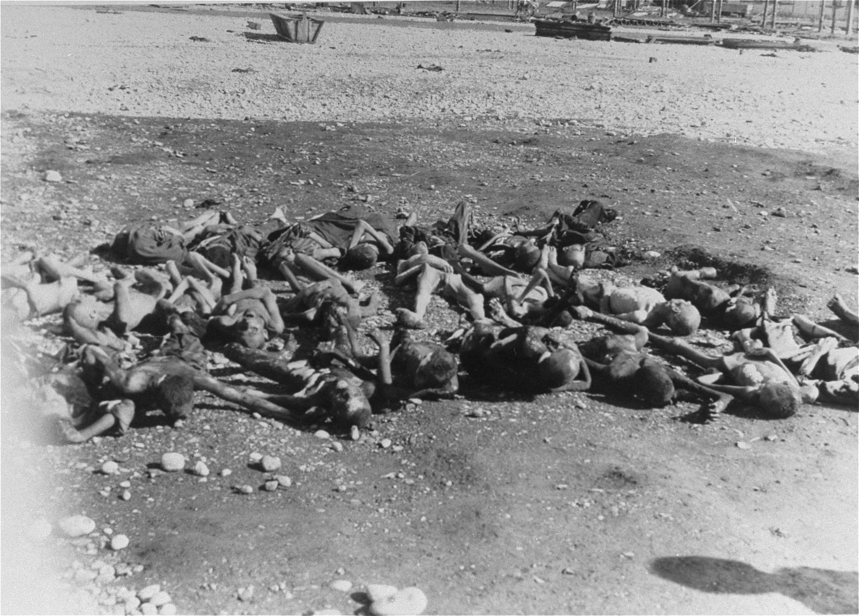 Corpses in the Kaufering IV concentration camp.
