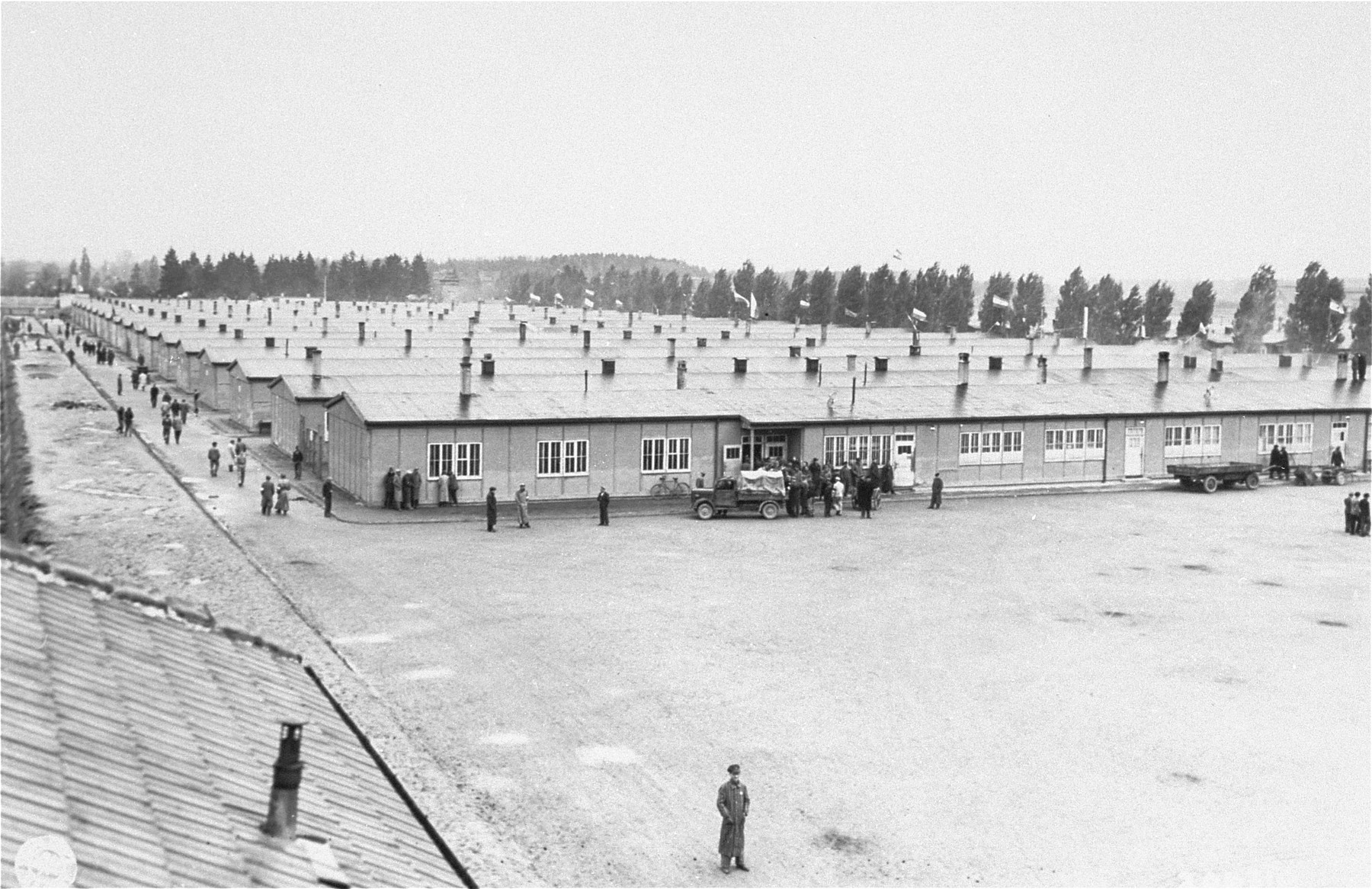 Prisoners' barracks in the Dachau concentration camp.