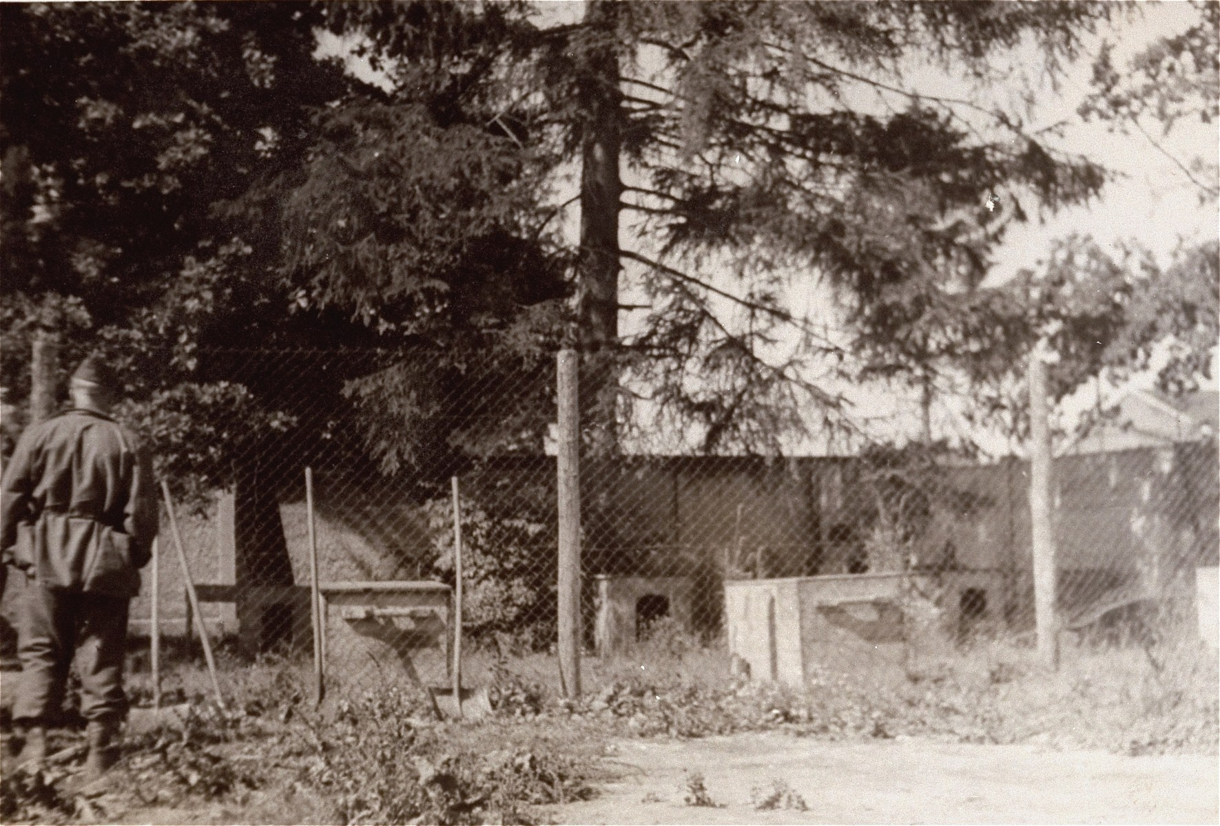 View of the kennel at the Dachau concentration camp.