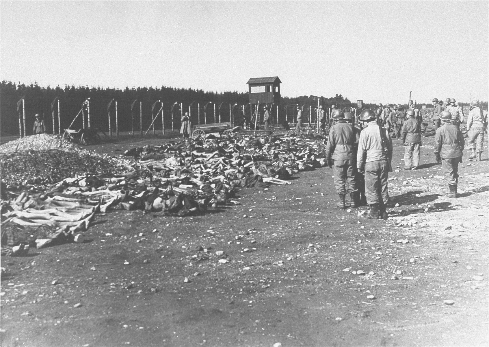 American soldiers view the bodies of Kaufering IV prisoners, which have been laid out along the fence of the camp.