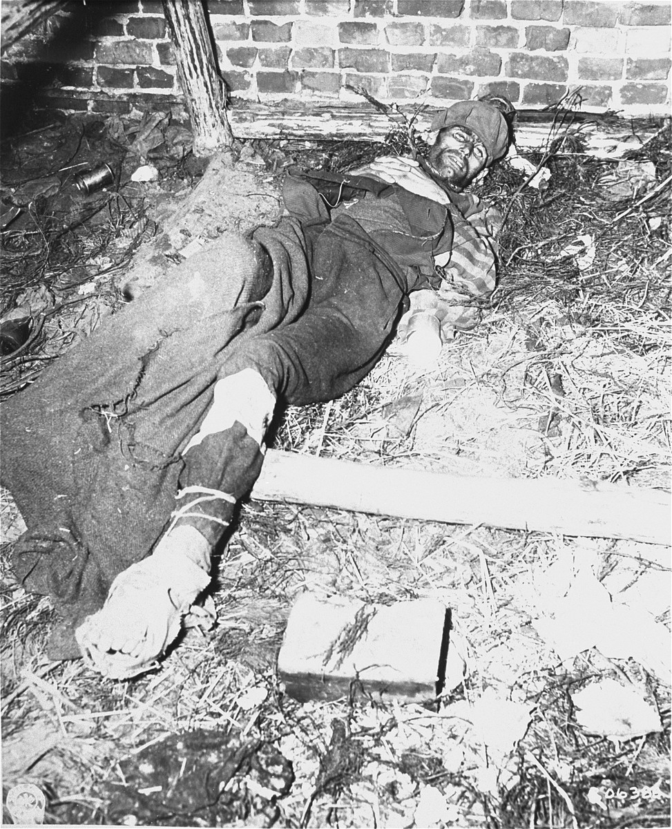 The body of a prisoner who died in a barracks in the Woebbelin concentration camp just before the camp's liberation.