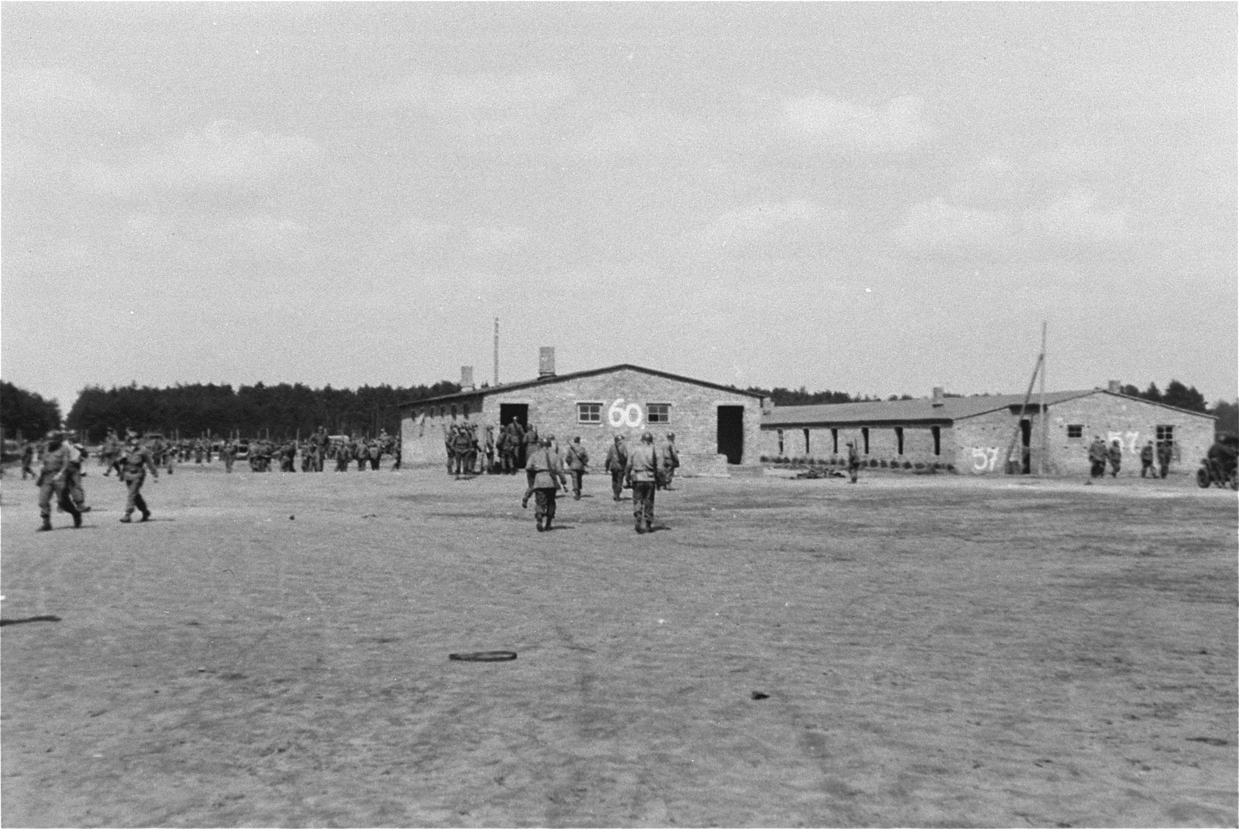 American troops in the Woebbelin concentration camp.