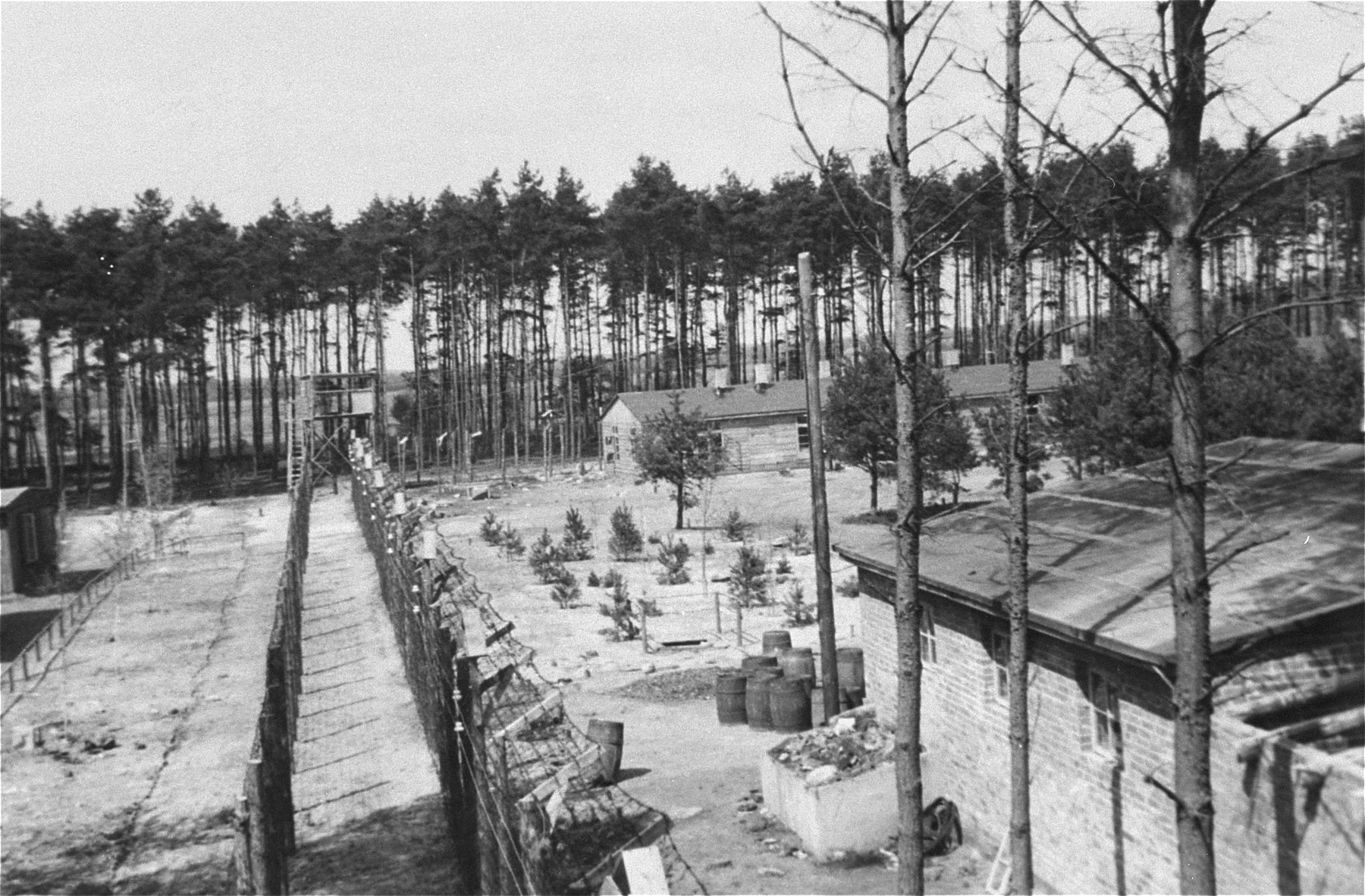View of the women's camp at Woebbelin as seen from a guard tower.