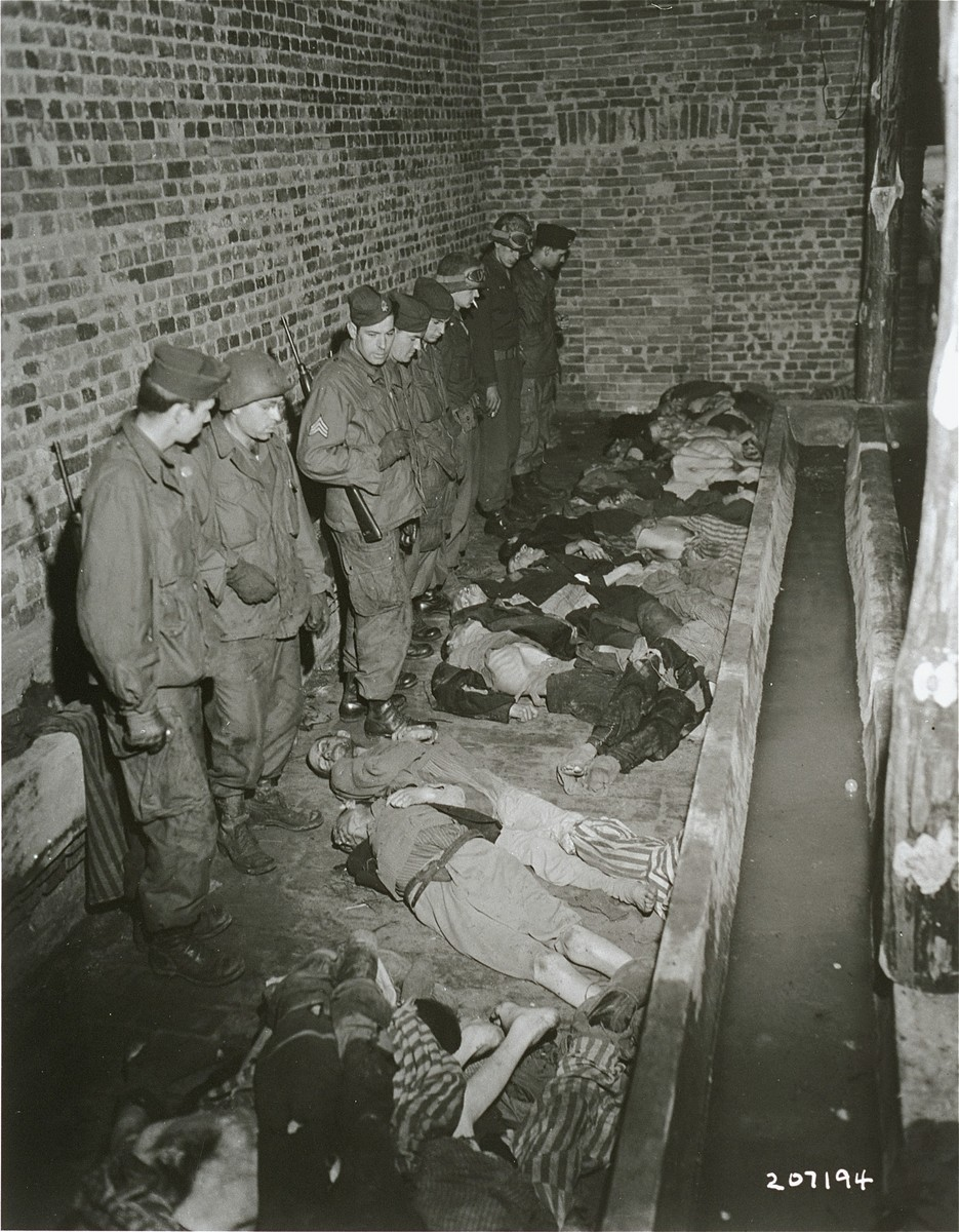 Troops with the American 82nd Airborne Division examine corpses found in the latrine of the Woebbelin concentration camp.