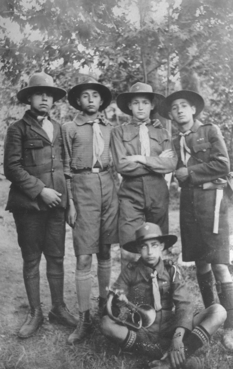 Group portrait of Jewish boy scouts in Salonika.  Among those pictured is Samuel Rouben.