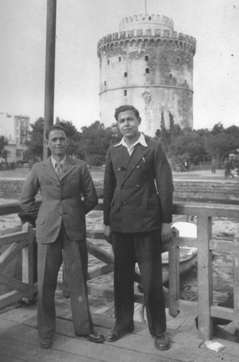 Jaco Beraha poses with a friend in front of the White Tower in Salonika.