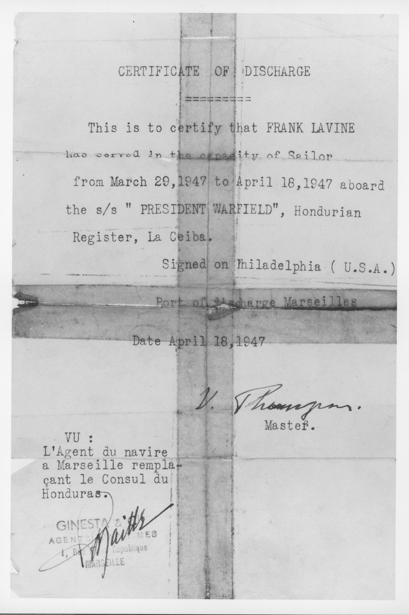 Certificate of discharge from service on the President Warfield (later, the Exodus 1947), issued to Frank Lavine.