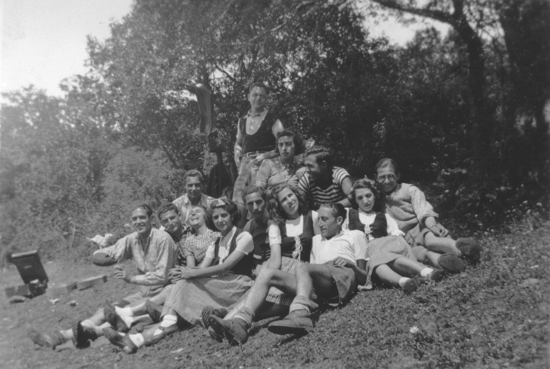 Group portrait of members of a Betar Zionist youth group on an outing.  Among those pictured is Jaco Beraha.