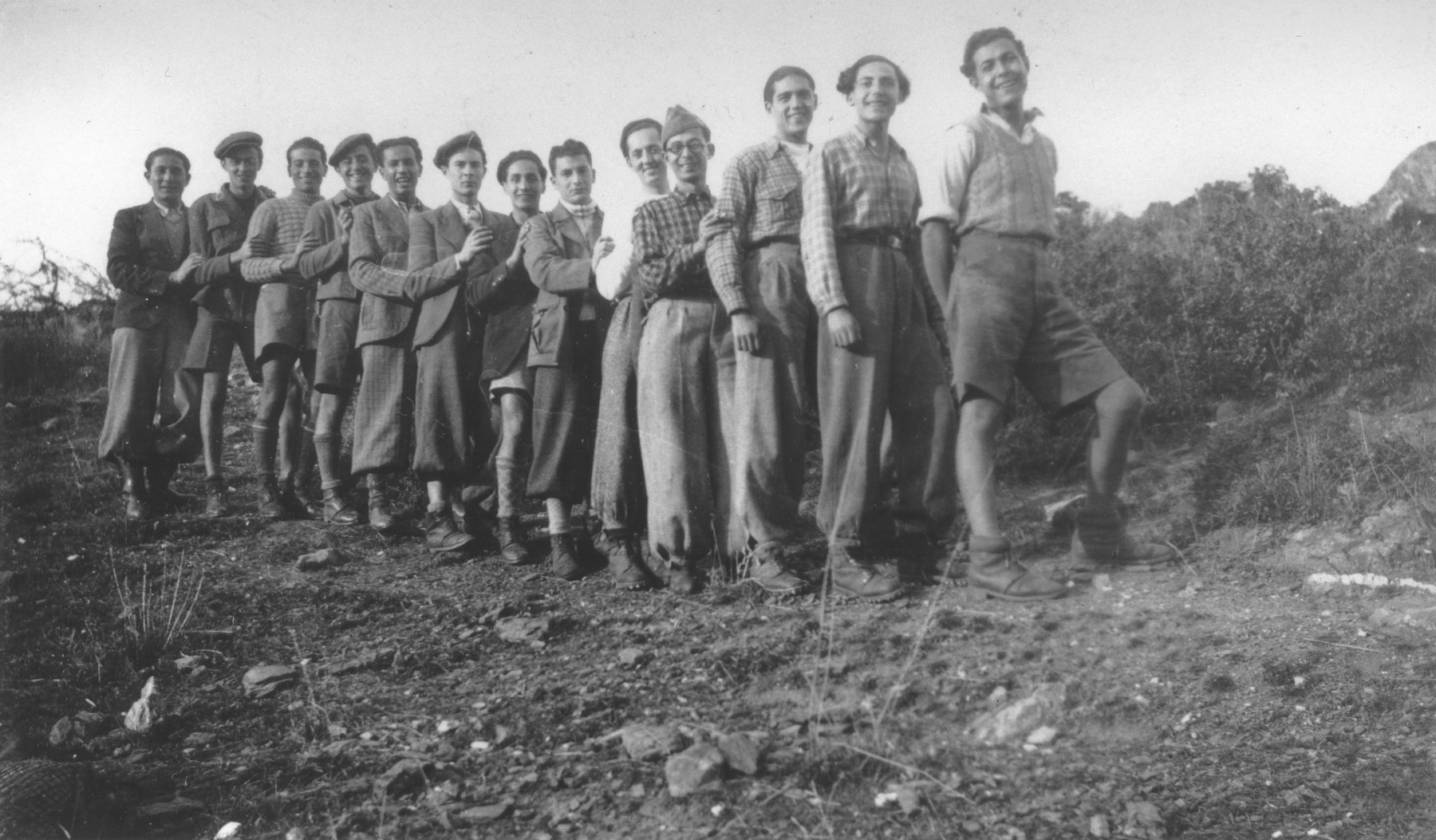 Group portrait of members of the Betar Zionist youth group on an excursion to Argos.  Jaco Beraha is pictured first on the right.