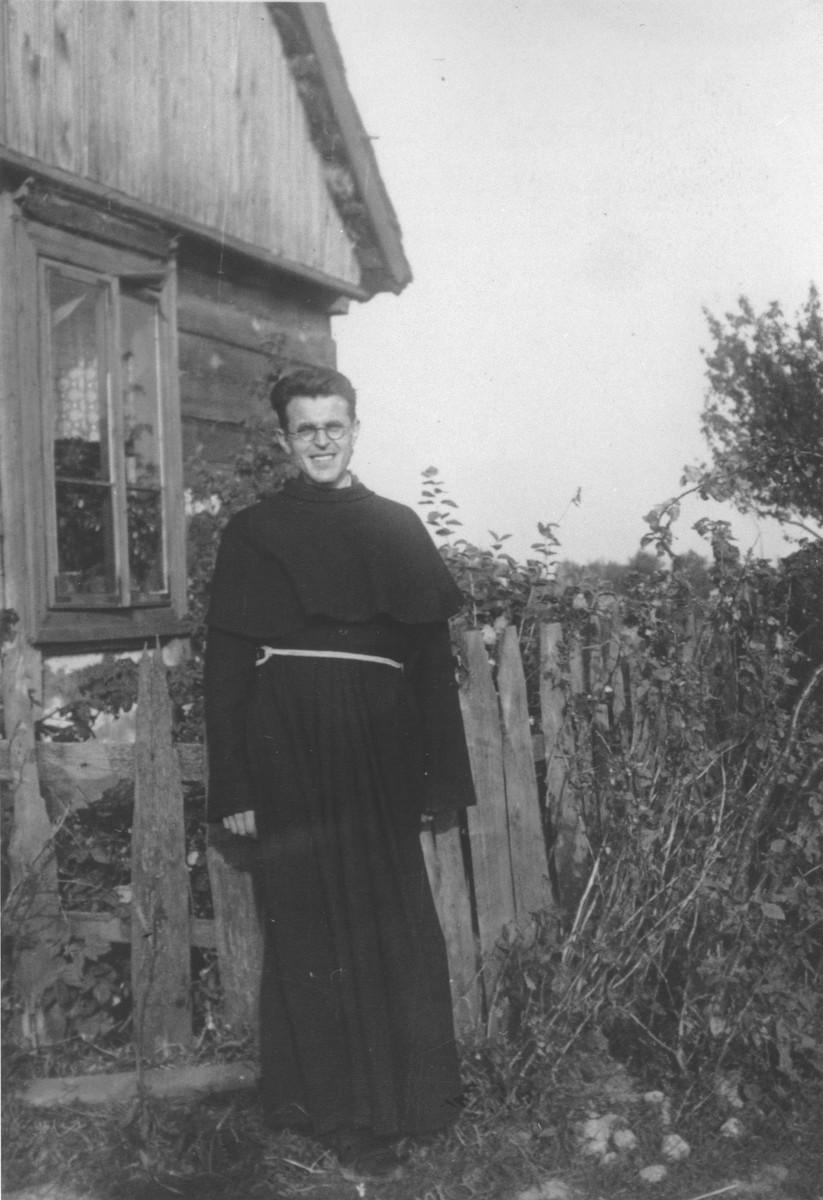 Portrait of Father Czeslaw Baran, a teacher at the convent school in Kostowiec near Warsaw, where Jewish children were hidden during the German occupation.