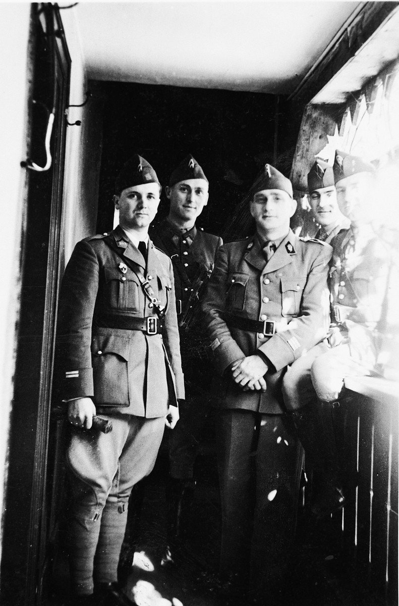 Group portrait of five French soldiers.  Robert Schwab is in the right, middle.