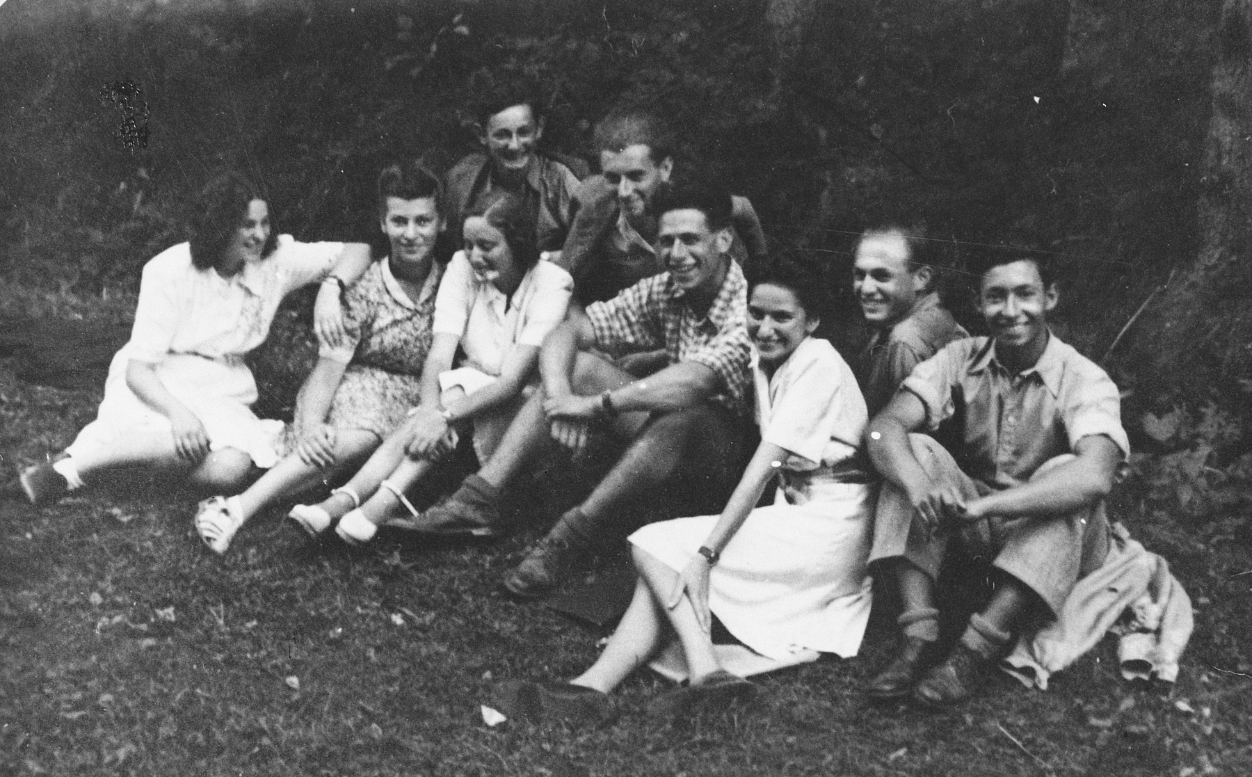 Members of the Zionist youth movement, Hashomer Hatzair, meet in the forests outside of Brezno since it was forbidden for them to meet in town.