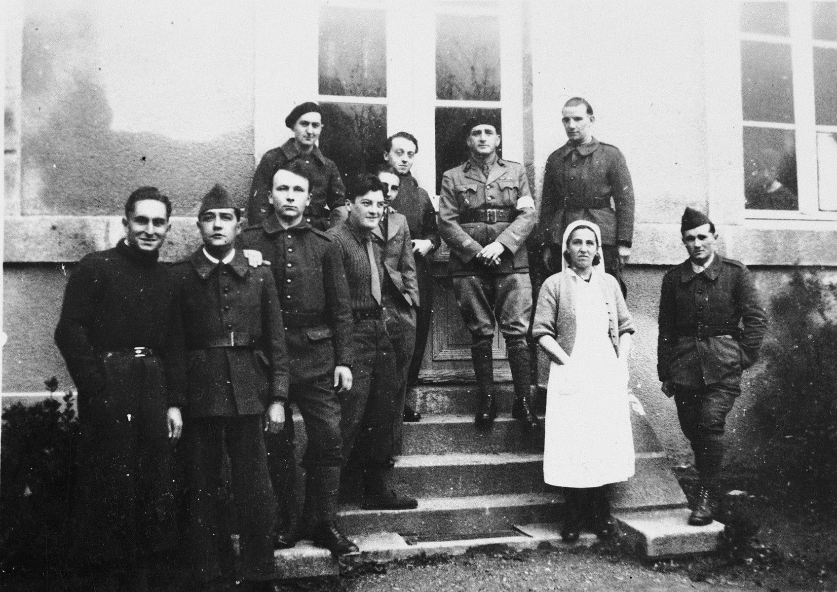 Staff of the French army hospital in Gueret.  Among those pictured is Dr. Robert Schwab.