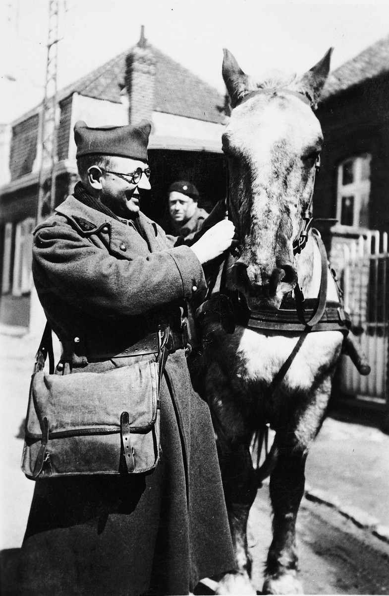 A French Jewish soldier cares for his horse.  Pictured is Andre Samuel.