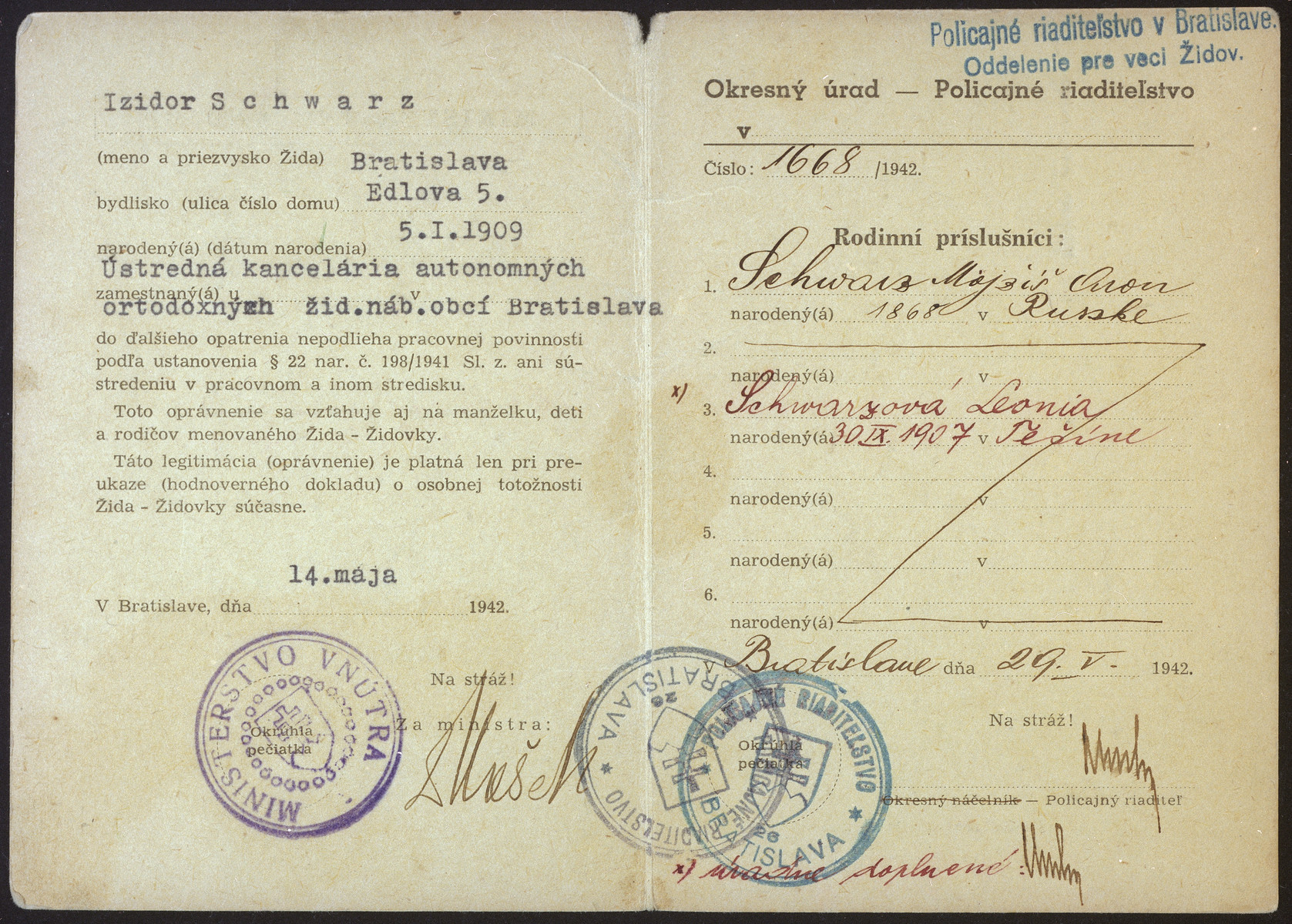 Card issued by the Slovak Ministry of Interior testifying that Izidor Schwarz is excluded from labor duty and from concentration in a labor camp, as  stipulated by the decree 198/1941.n.