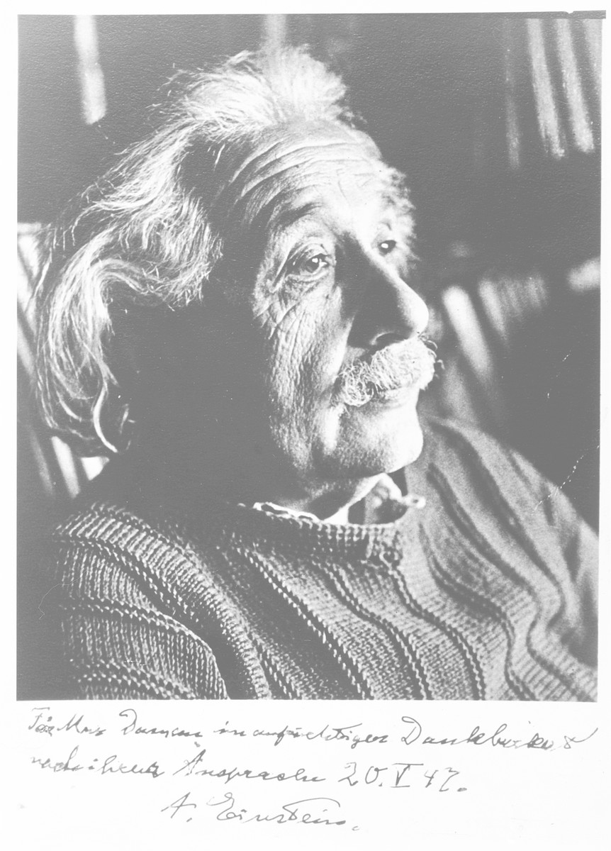 Studio portrait of Albert Einstein given to Belgian rescuer Jeanne Daman in appreciation.