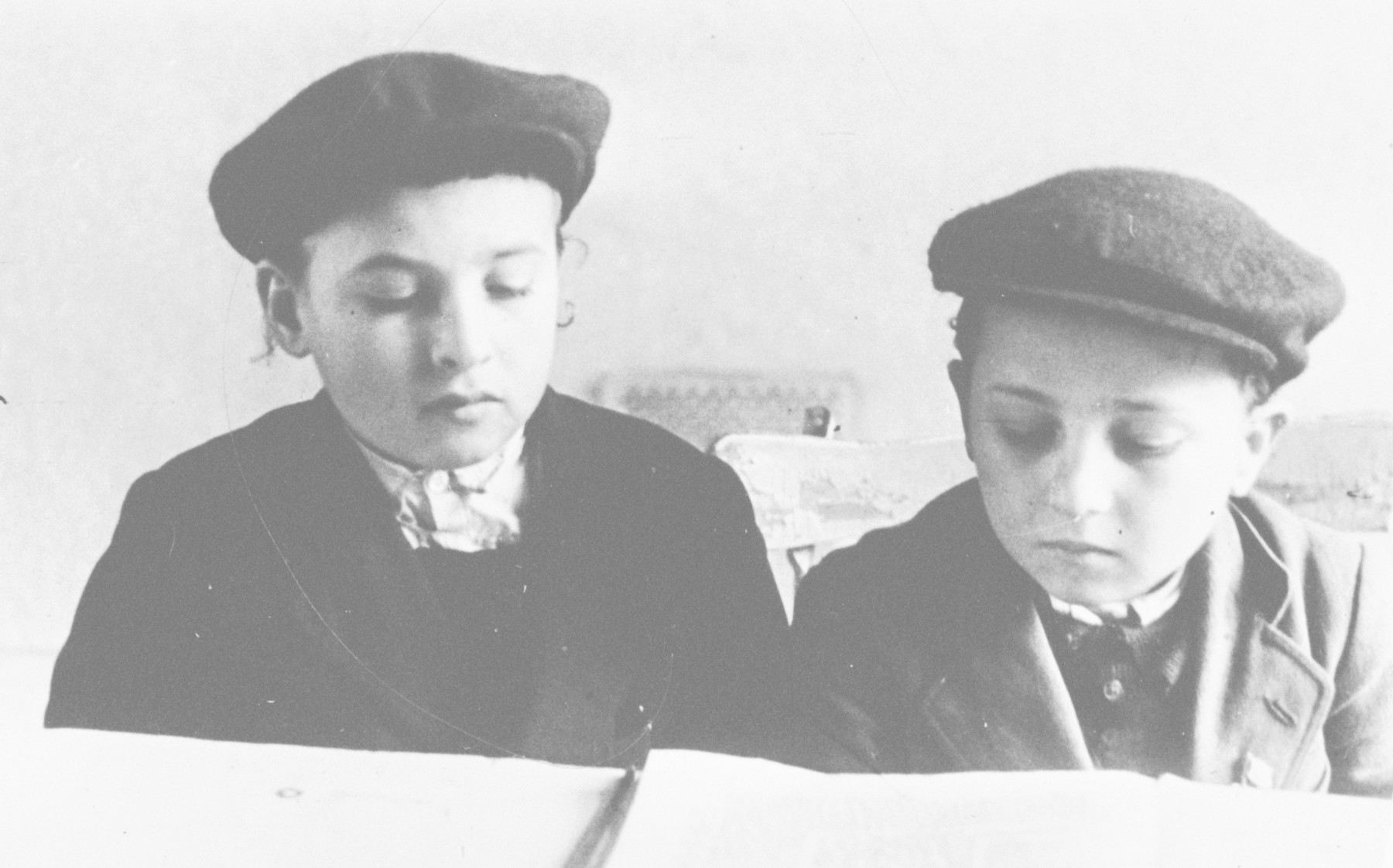 Two young boys study a religious text in Bad Nauheim, a children's home run by the Vaad Hatzala.