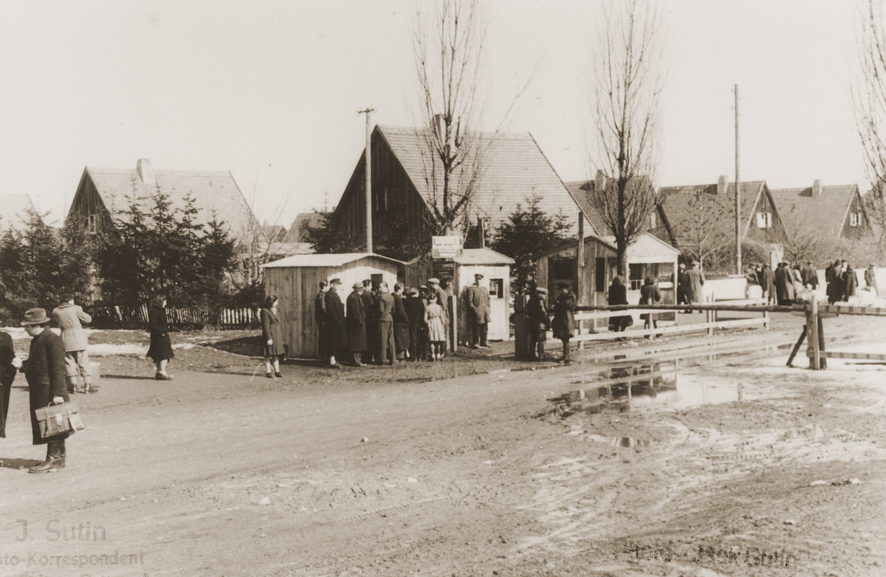Street scene in the Neu Freimann displaced persons camp.