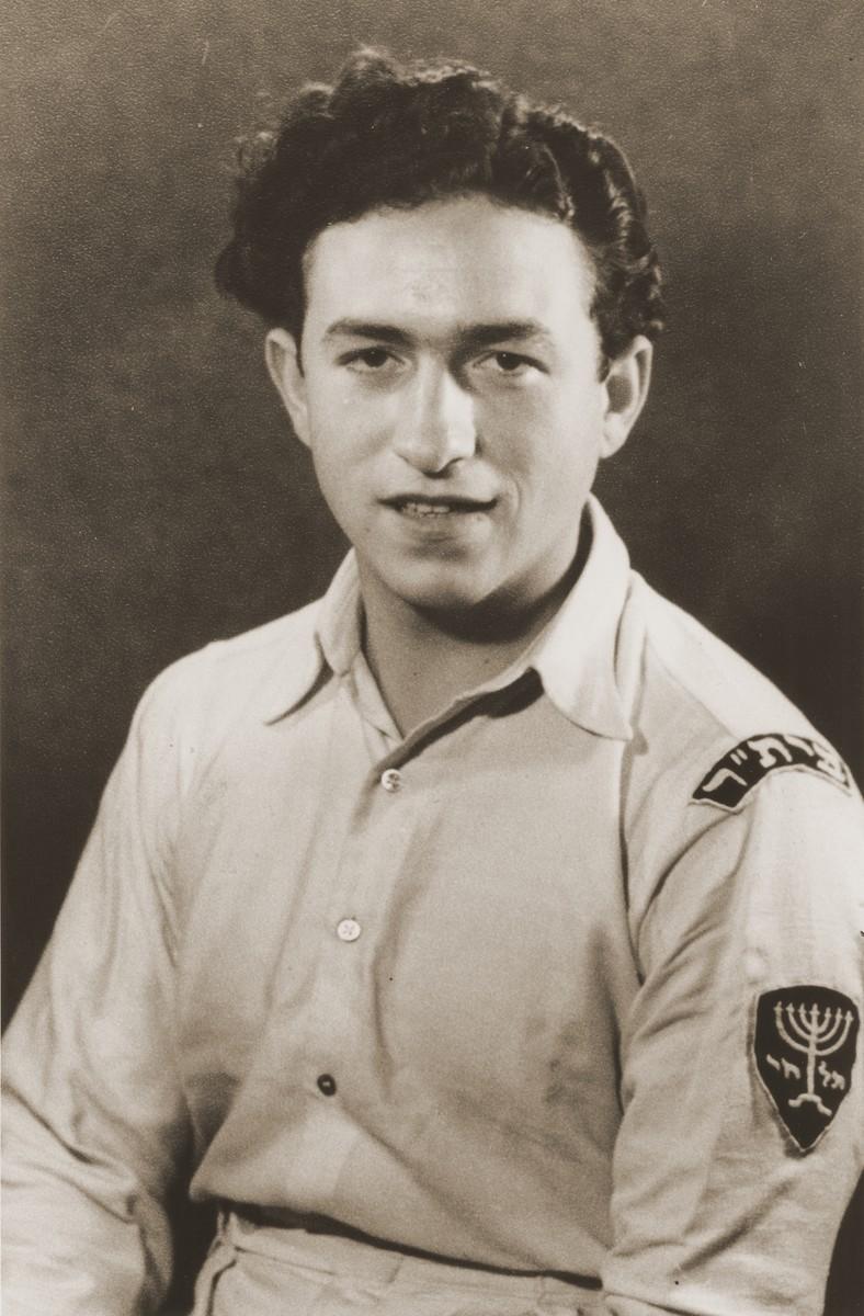 Israel Zaks wearing his Betar uniform in the Bergen-Belsen DP camp.