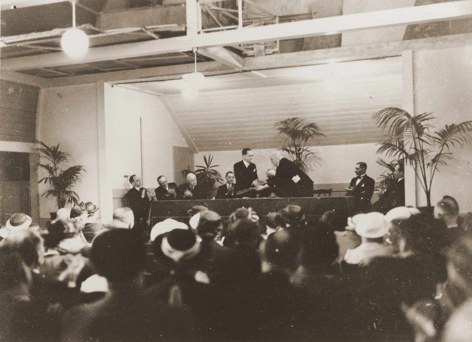 Jews attend the dedication of the Liberale Gemeente [reform] synagogue in Amsterdam.
