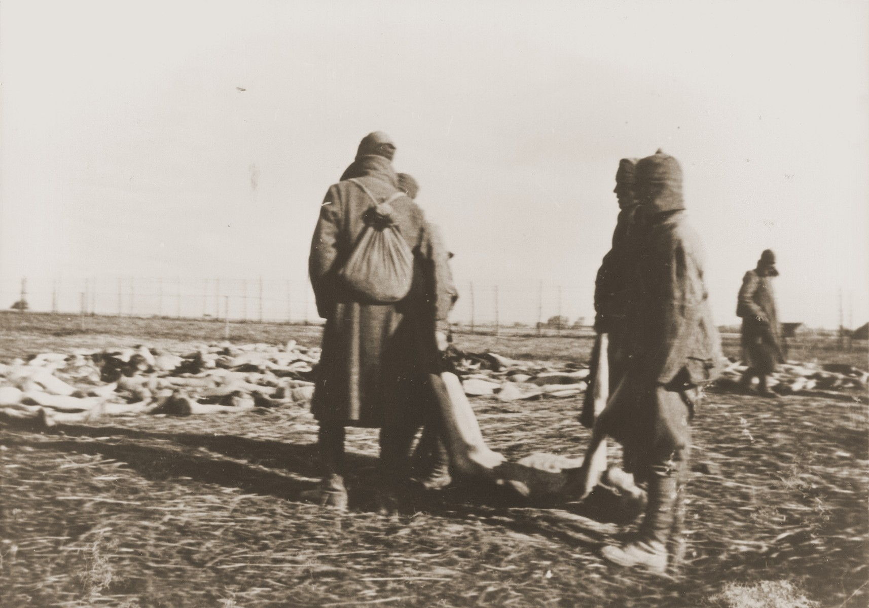 Soviet POWs moving the corpses of dead comrades to a place for burial.