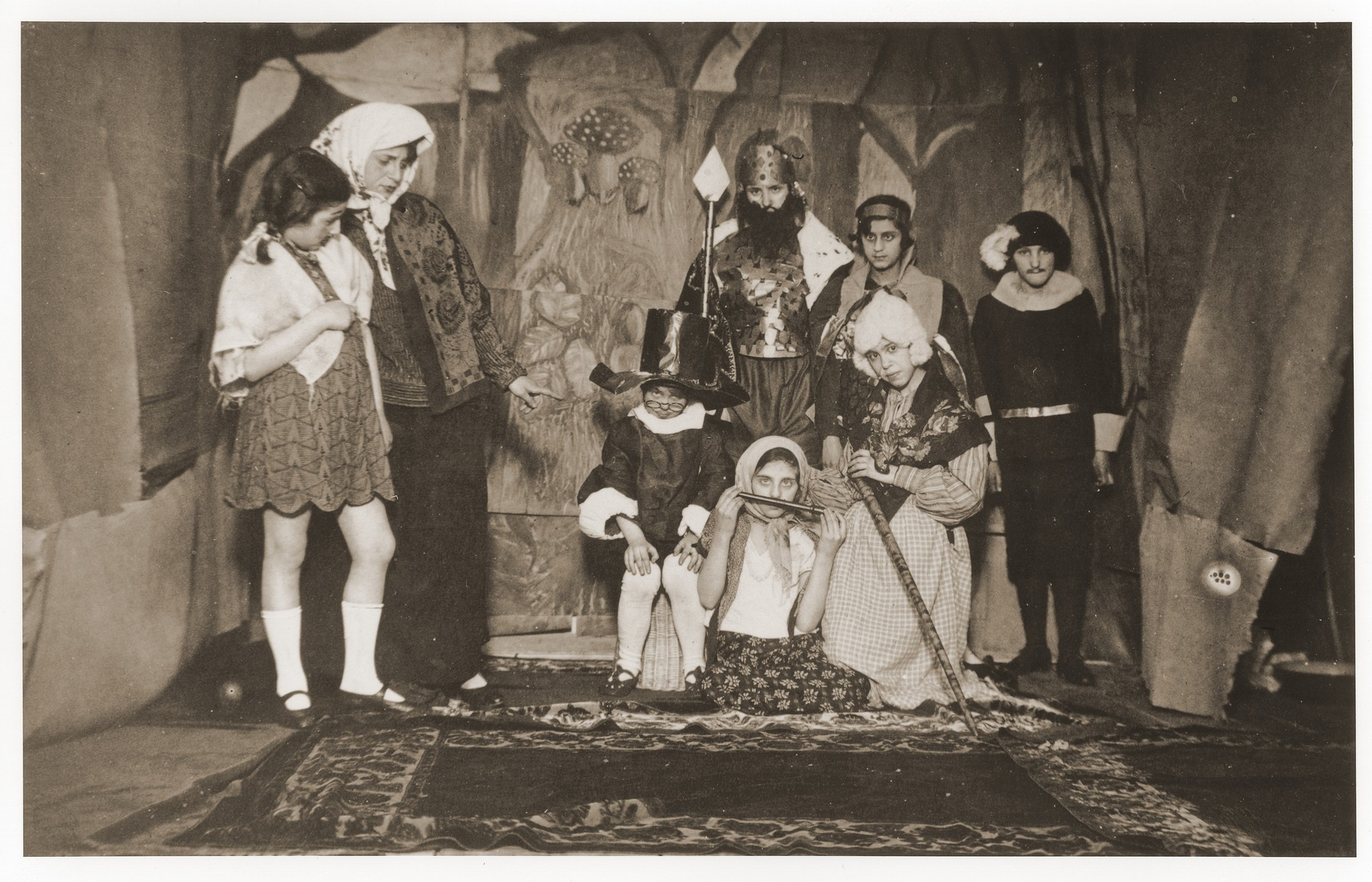 "Students of the Yehudia Jewish gymnasium for girls in Warsaw, in a performance of the play, ""Mazel Tov,"" by Shalom Aleichem."