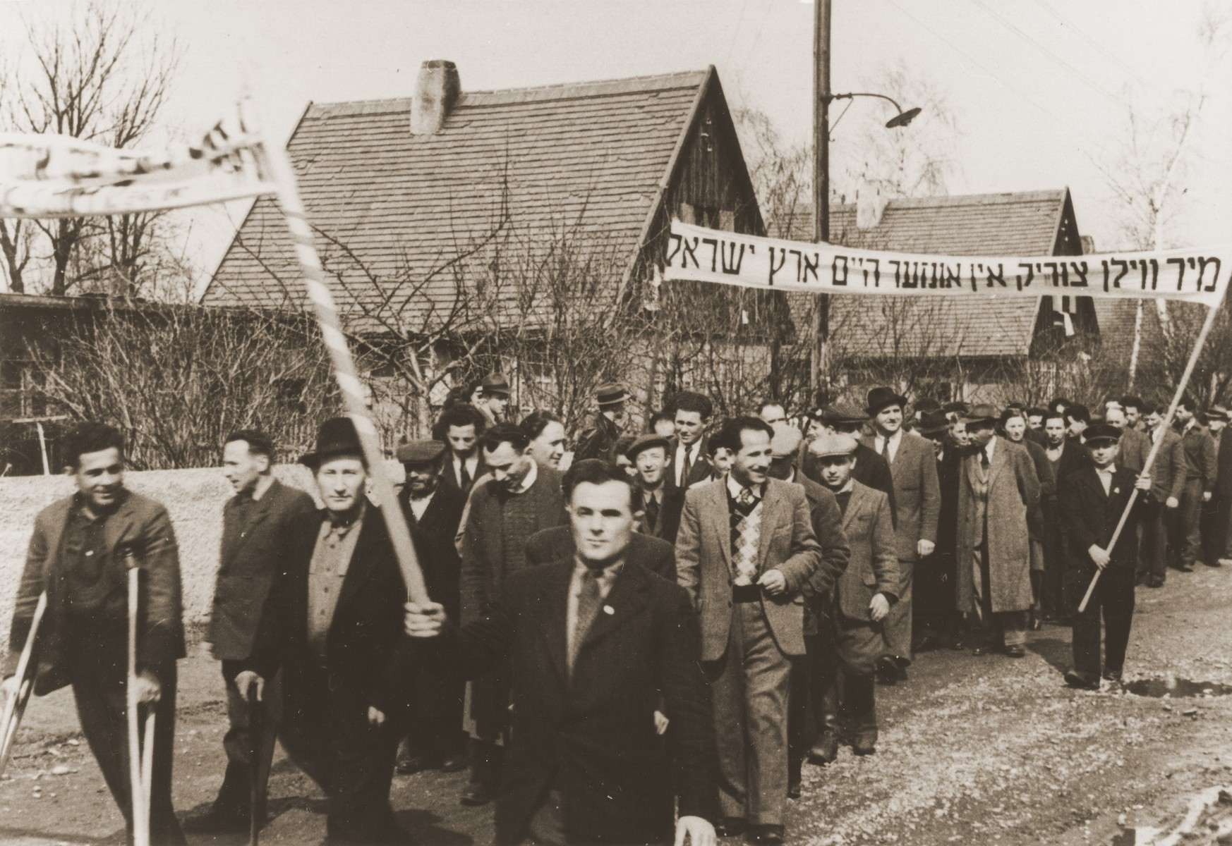 Jewish DPs protest British immigration policy to Palestine in the Neu Freimann displaced persons camp.