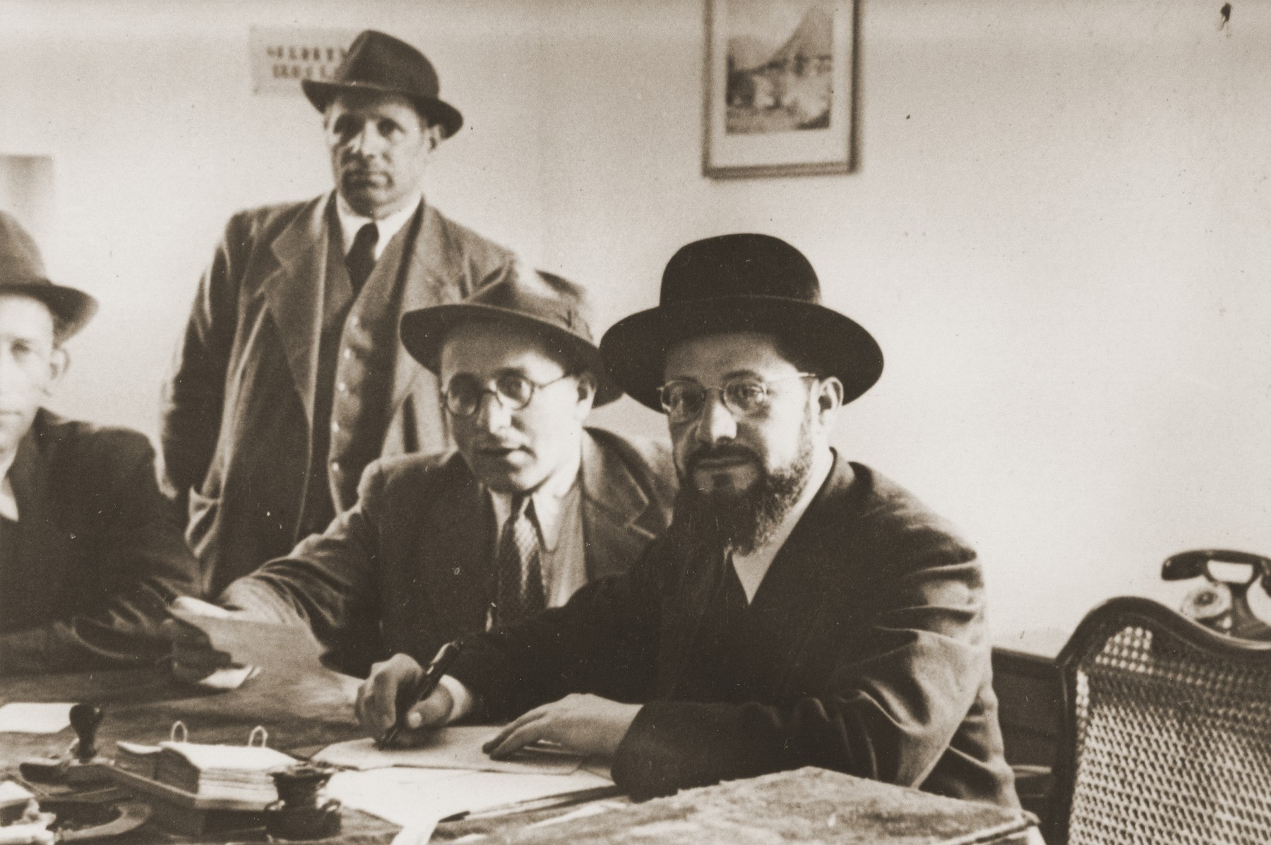Chief Rabbi Lejzerowski (right) meets with other rabbis in the Landsberg displaced persons camp.