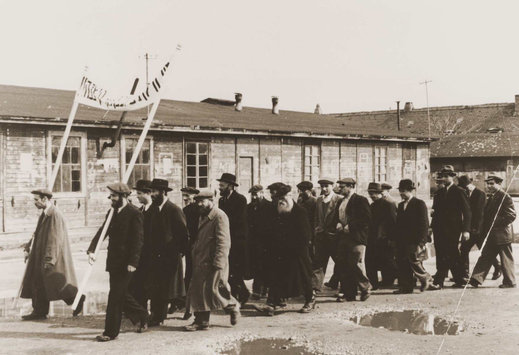 Religious Jews demonstrate in the Neu Freimann displaced persons camp against British immigration policy to Palestine.