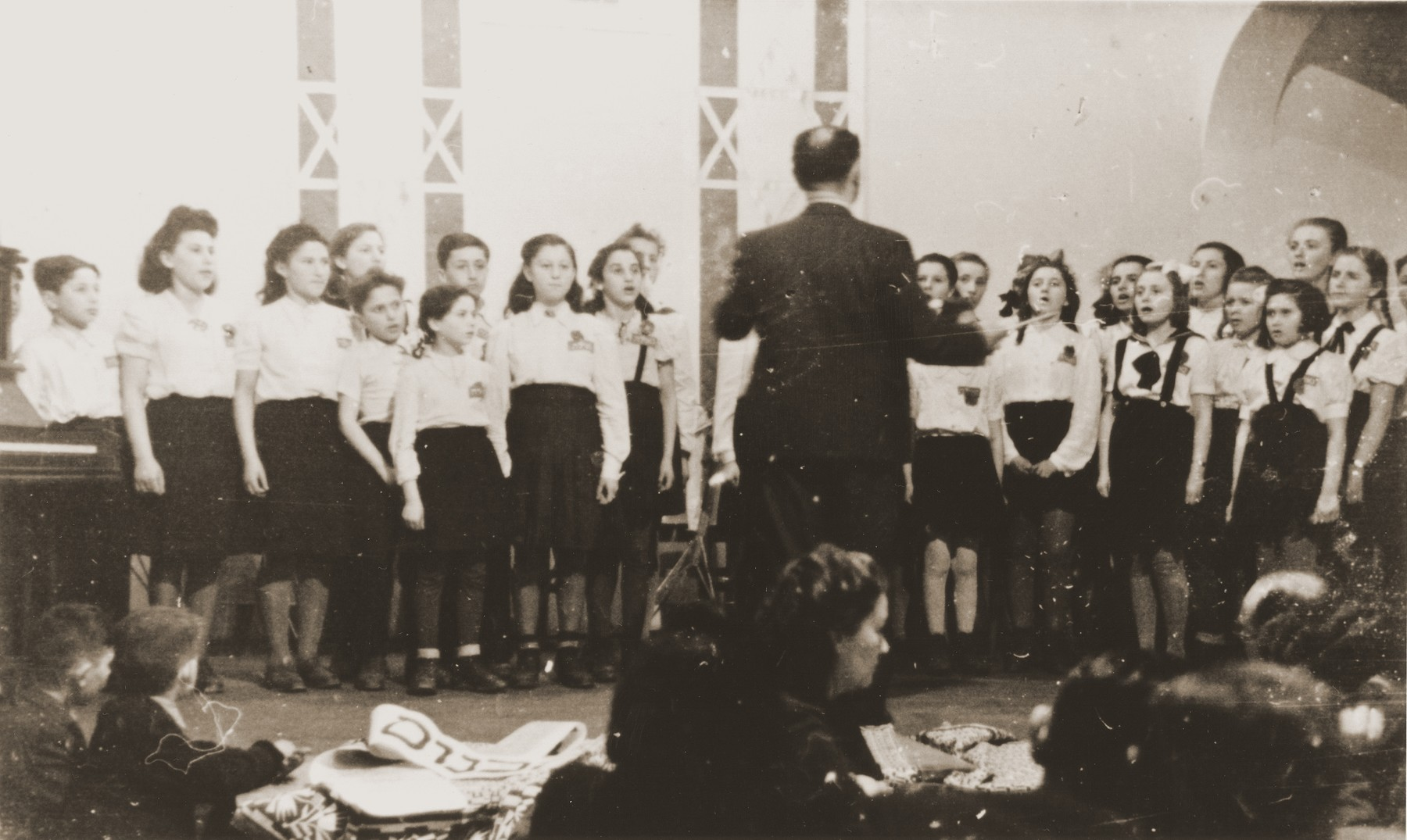 Members of a children's choir performs in the Neu Freimann displaced persons camp.