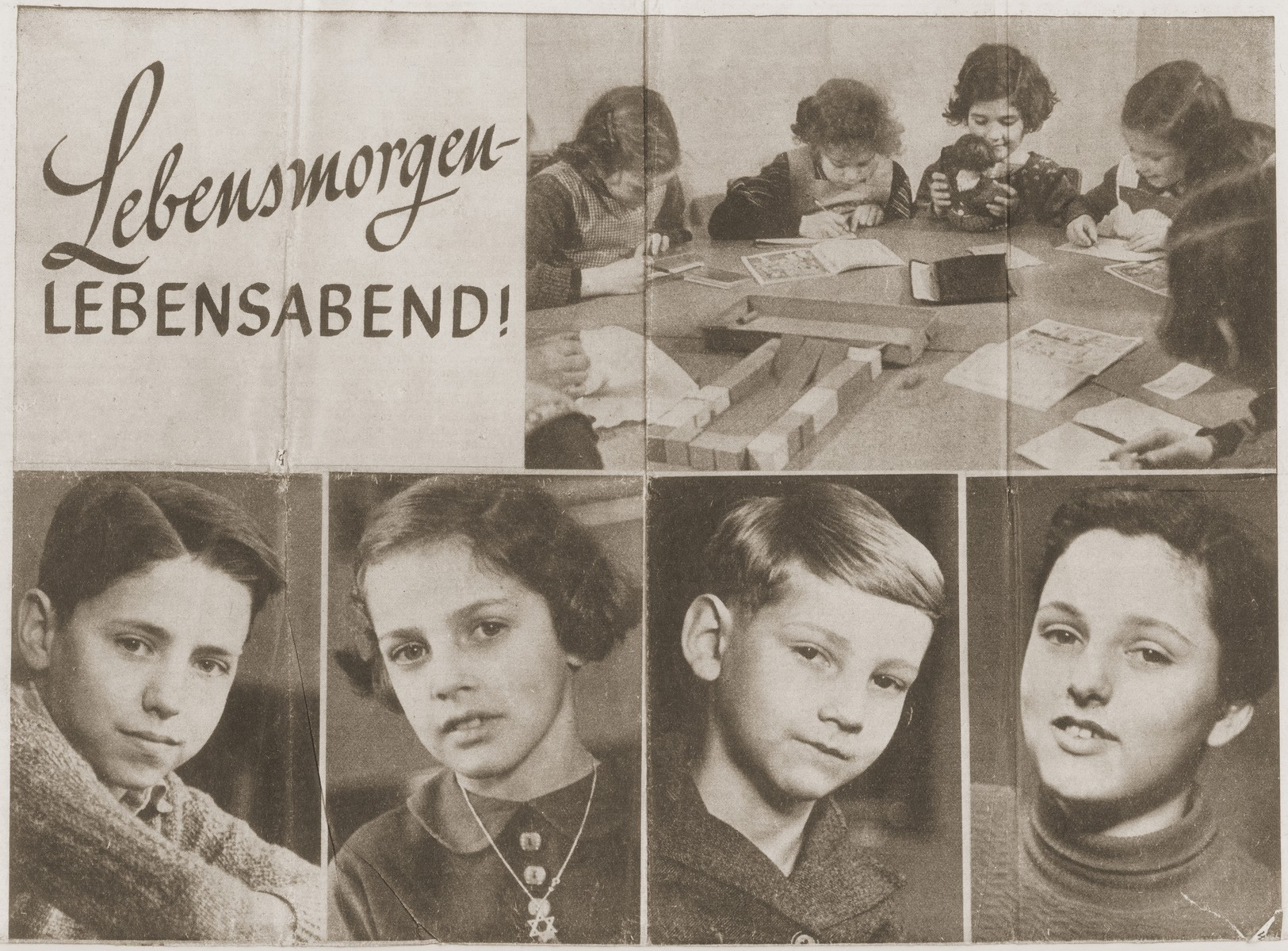 A series of photographs of children at the Baruch Auerbach Jewish orphanage in Berlin that was published in the Jewish newspaper, Juedisches Nachrichtenblatt, on March 10, 1939.    Heinz Stephan Lewy is pictured at the bottom left.  Ralph Moratz is ton the bottom row second from the right.