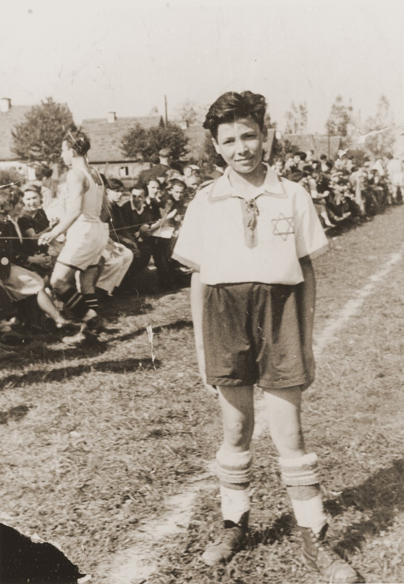 Nachman Aaron Elster poses in his soccer team uniform in the Neu Freimann displaced persons camp.