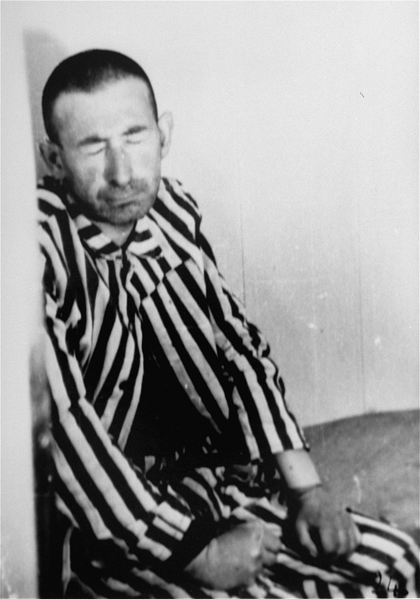 A prisoner in a special chamber responds to changing air pressure during high-altitude experiments.  For the benefit of the Luftwaffe, conditions simulating those found at 15,000 meters in altitude were created in an effort to determine if German pilots could fly and survive at that height.