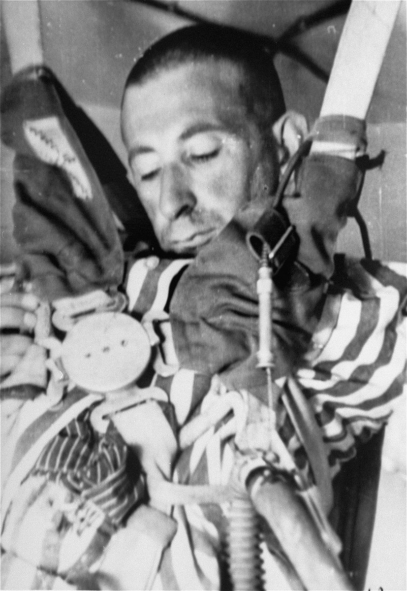 A prisoner who has been subjected to low pressure experimentation.  For the benefit of the Luftwaffe, air pressures were created comparable to those found at 15,000 meters in altitude, in an effort to determine how high German pilots could fly and survive.