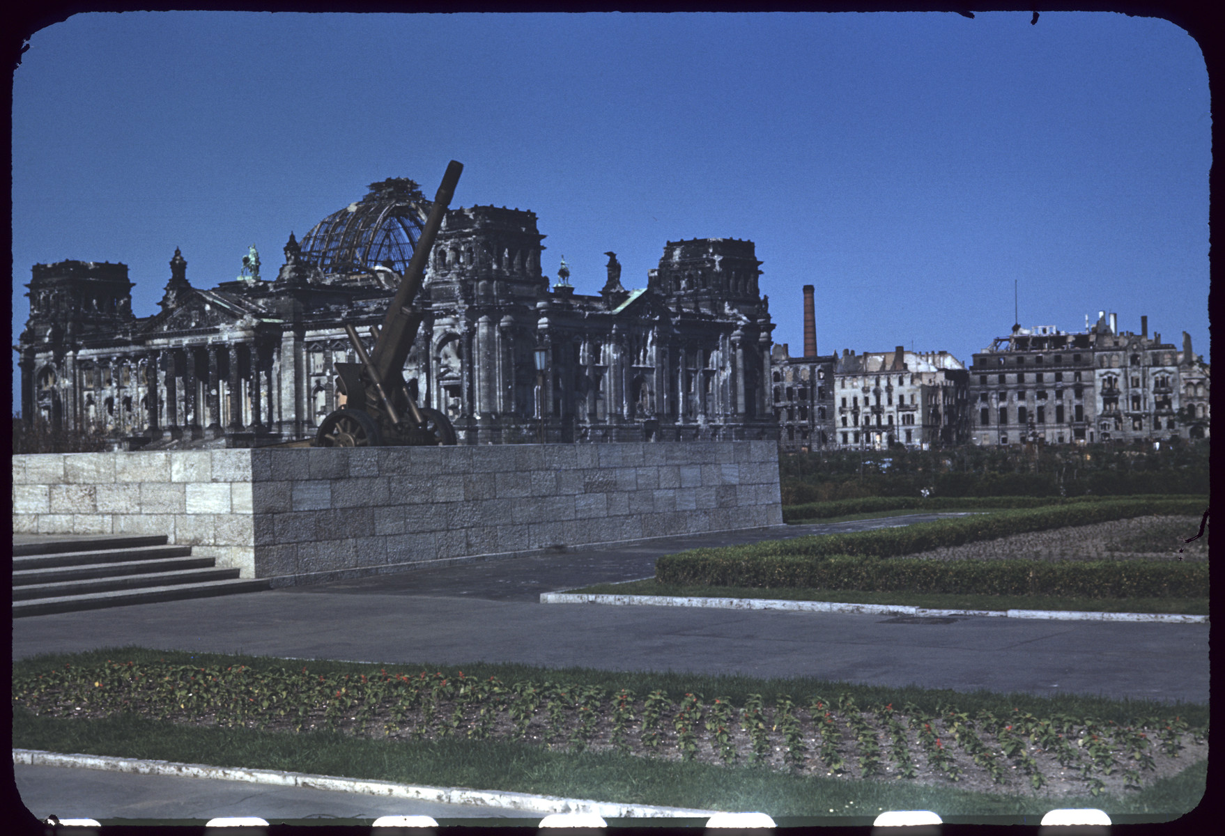 Postwar view of the Reichstag with the Soviet War Memorial in the foreground.