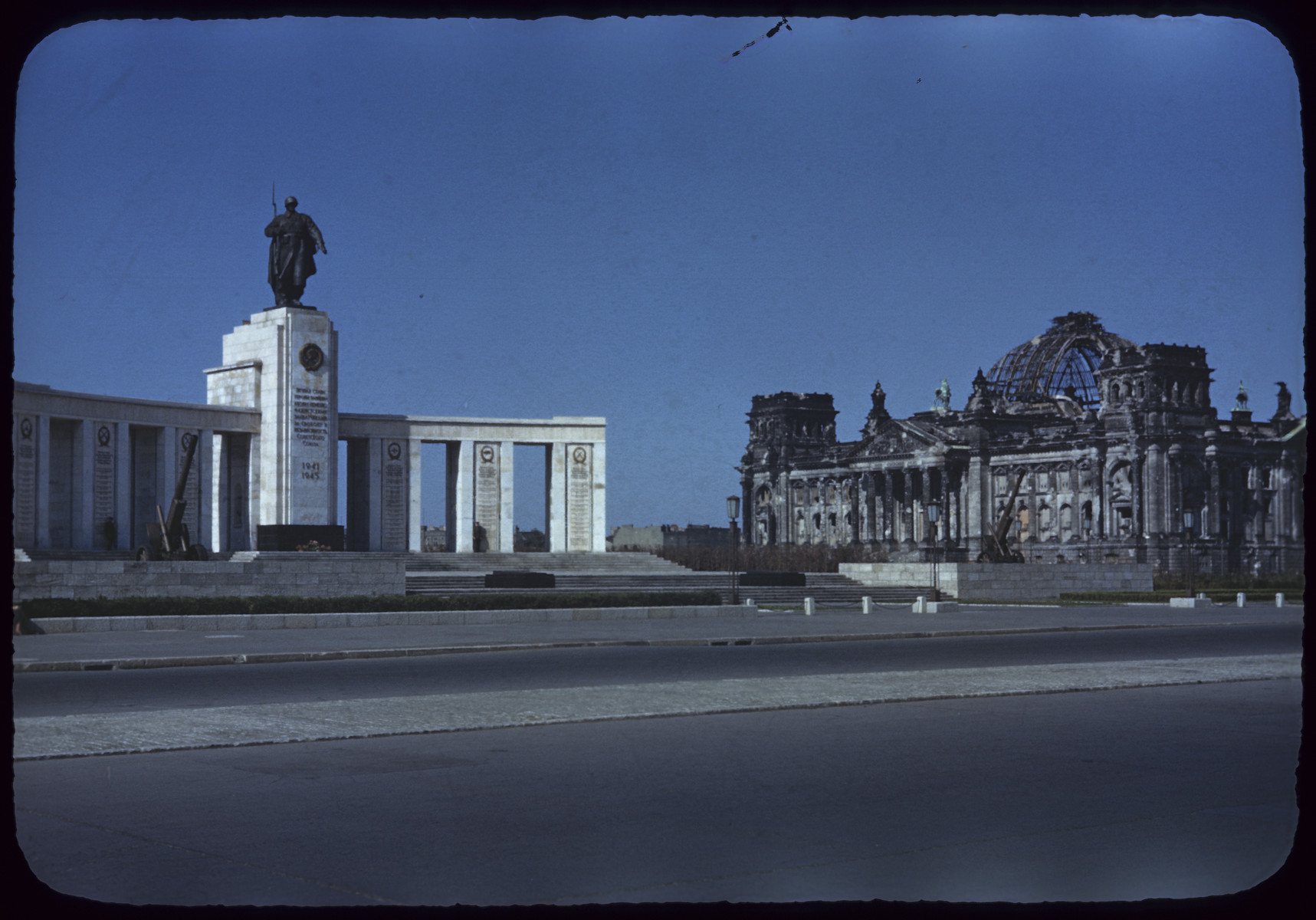 A view of the Soviet War Memorial and the destroyed Reichstag.
