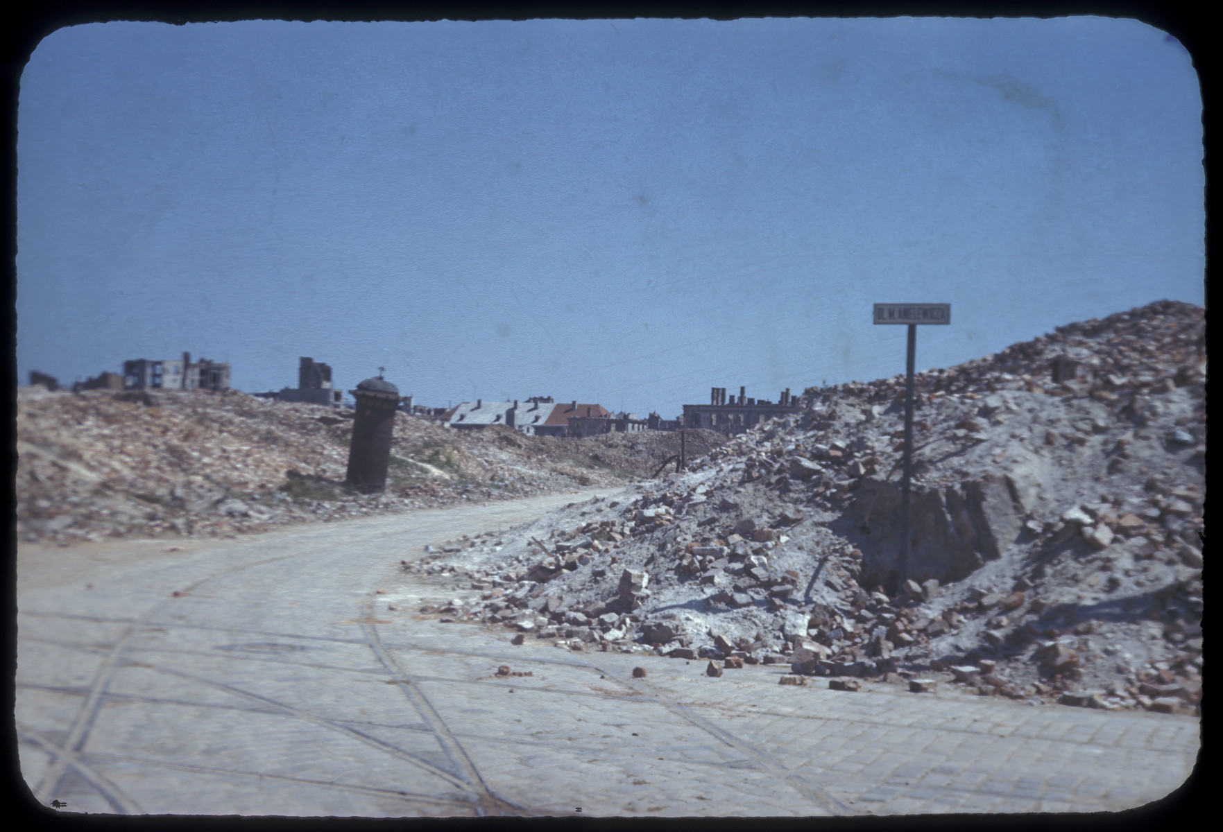 Postwar view of the ruins of the Warsaw ghetto.