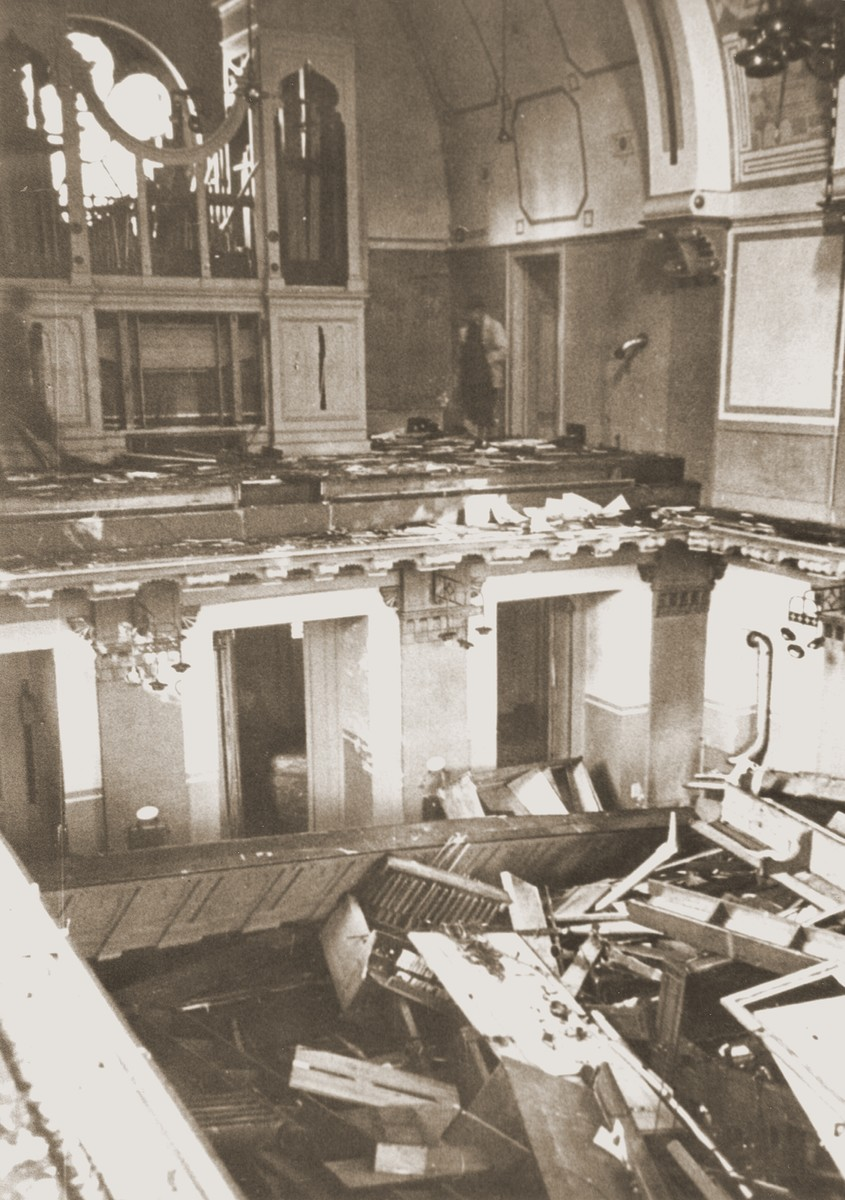 Interior of the Zerrennerstrasse synagogue after its destruction on Kristallnacht.  The cornerstone for the Zerrennerstrasse synagogue in Pforzheim was laid on June 3, 1891, and the finished building was dedicated on July 27, 1892.