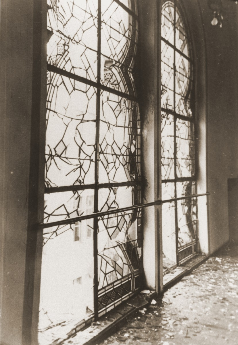 The shattered stained glass windows of the Zerrennerstrasse synagogue after its destruction on Kristallnacht.  The cornerstone for the Zerrennerstrasse synagogue in Pforzheim was laid on June 3, 1891, and the finished building was dedicated on July 27, 1892.