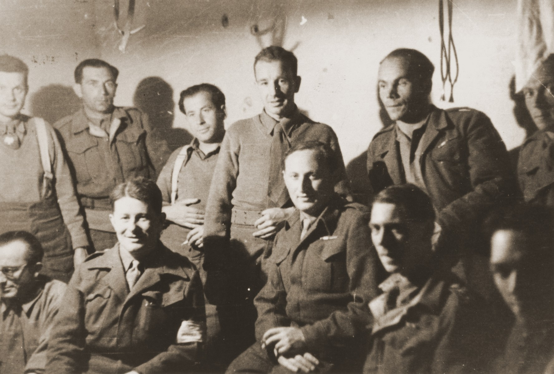 Group portrait of members of the Anders Army.  Dr. Arthur Haber, originally from Krakow, survived the war as a doctor in the Anders Army.  His wife, Sophie Ament Haber, escaped the Bochnia ghetto with her family in June 1943.  After liberation she found her husband in Italy.