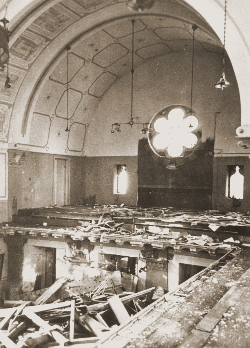 Prayerbooks lie scattered on the floor of the choir loft in the Zerrennerstrasse synagogue, destroyed on Kristallnacht.  The cornerstone for the Zerrennerstrasse synagogue in Pforzheim was laid on June 3, 1891, and the finished building was dedicated on July 27, 1892.