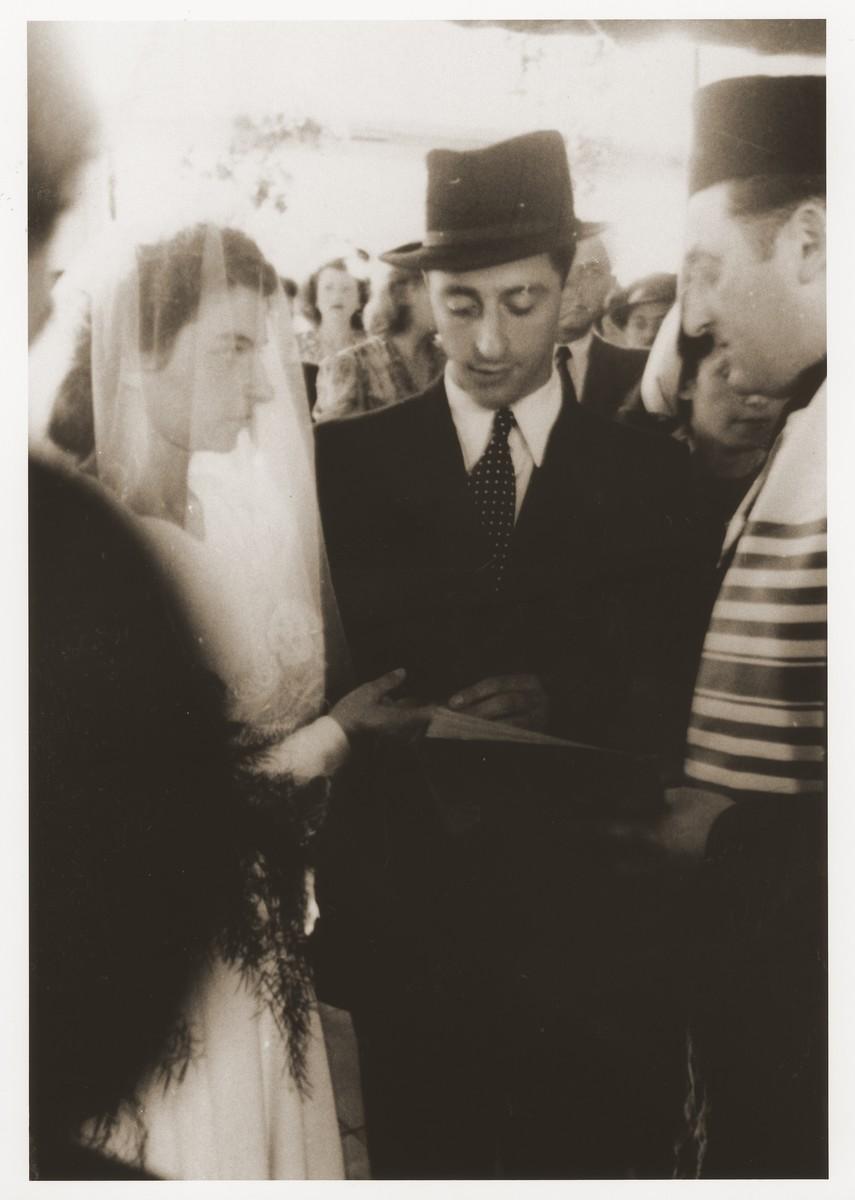Wedding of Hans Finke and Alice Redlich in the Bergen-Belsen displaced persons camp.