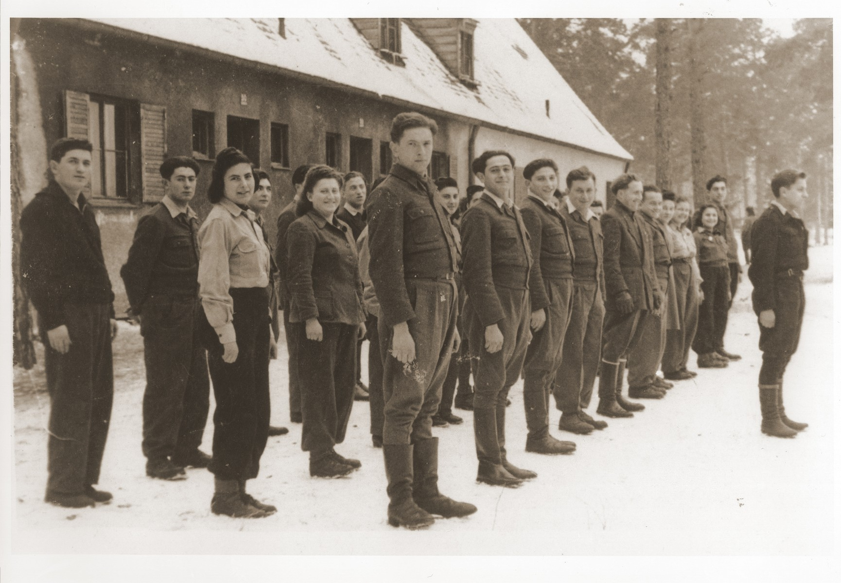 Zionist youth stand in formation outside a barracks in the Foehrenwald displaced persons camp.
