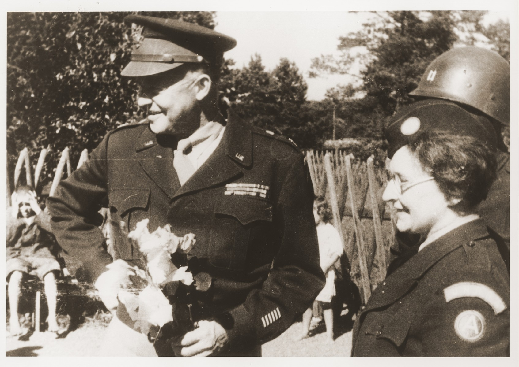General Dwight D. Eisenhower visits the Wolfratshausen displaced persons camp in September 1945.