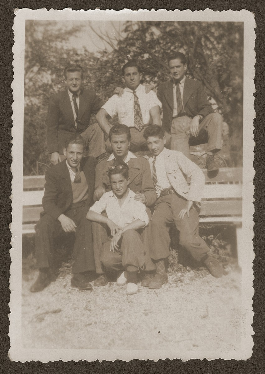 Group portrait of Jewish youth living at the OSE (Oeuvre de Secours aux Enfants) children's home at Collognes au Mont d'or.  Among those pictured are Siegfried Weissmann (back row, middle) and Kurt Leuchter (front row on the far left).