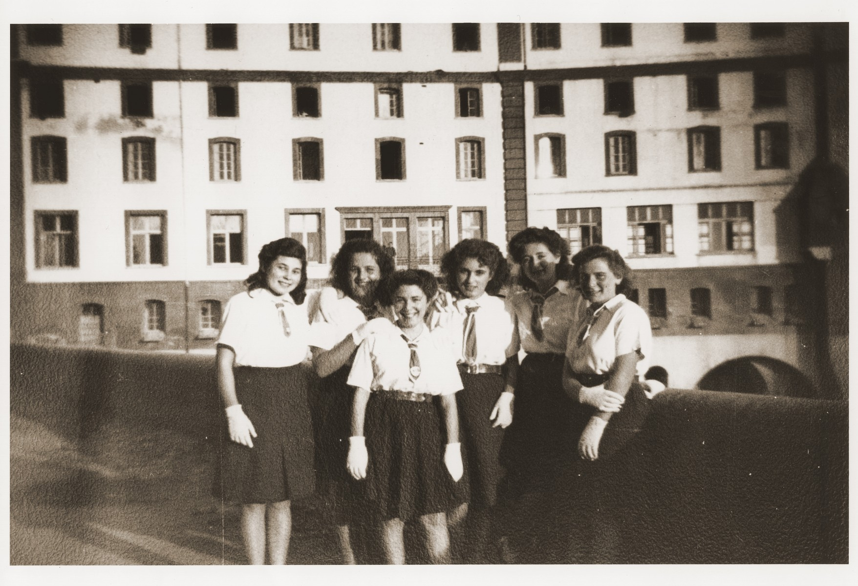Group portrait of Jewish youth at the Hotel du Moulin in Moissac.    The Hotel du Moulin residence for displaced Jewish youth was operated by the French-Jewish scouting movement, Eclaireurs Israelites de France.